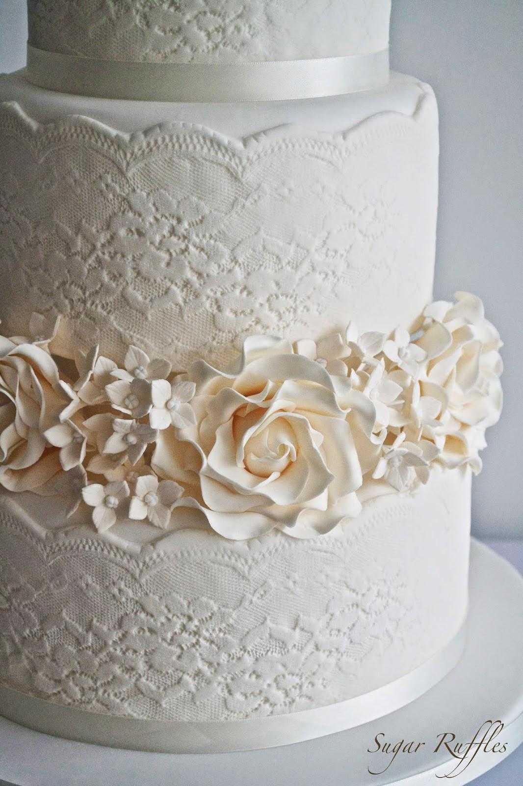 Lace Wedding Cake With Roses & Hydrangea