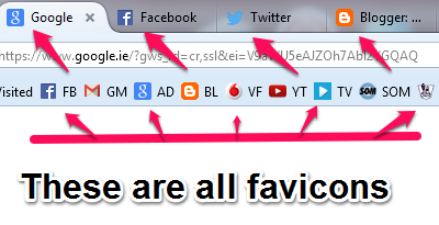 Examples Of Favicons In Browser And Bookmarks
