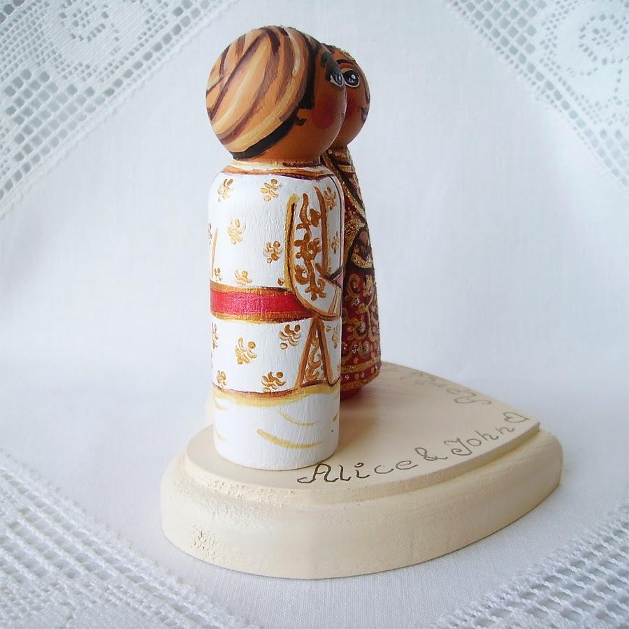 Personalizowane na zamówienie ręcznie malowane zdobione figurki ślubne figurka ozdoba na tort weselny ślubny tortu weselnego dekoracja tortu panna młoda pan młody nowożeńcy stroje ludowe folklor tradycyjne
