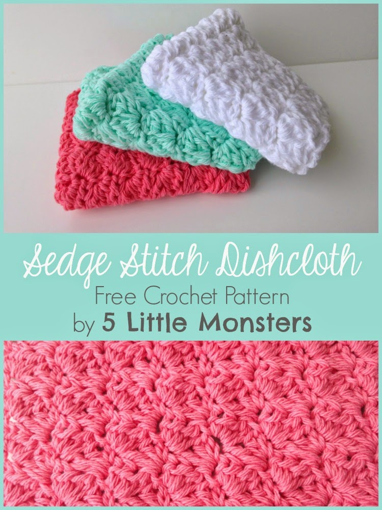 40 Little Monsters My Favorite Dishcloths Sedge Stitch Dishcloth Gorgeous Best Crochet Dishcloth Pattern