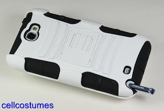 WHITE BLACK RUGGED ARMOR HYBRID CASE BELT CLIP HOLSTER SAMSUNG GALAXY NOTE 2 II