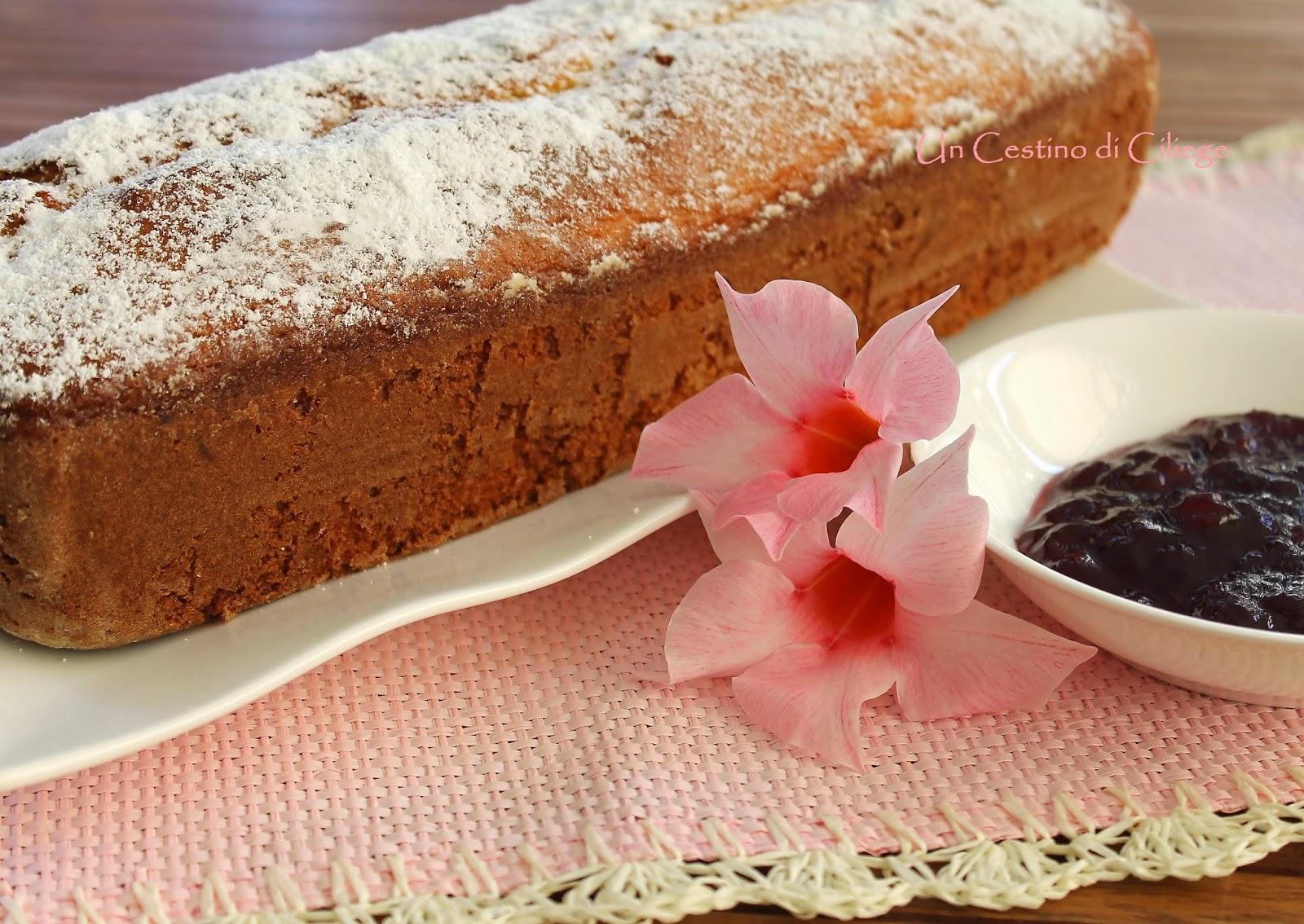 plumcake con confettura di ciliegie