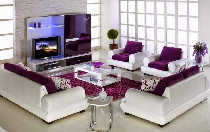 dekorasi ruang tamu minimalis dengan nuansa warna ungu