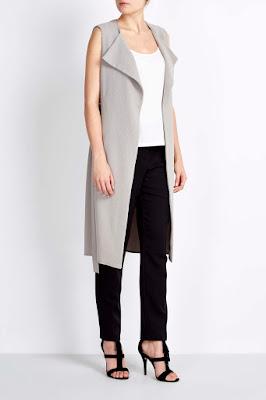 Wallis Grey Sleeveless Duster Jacket