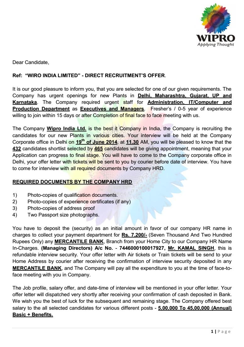 Offer letter vatozozdevelopment offer letter spiritdancerdesigns Image collections