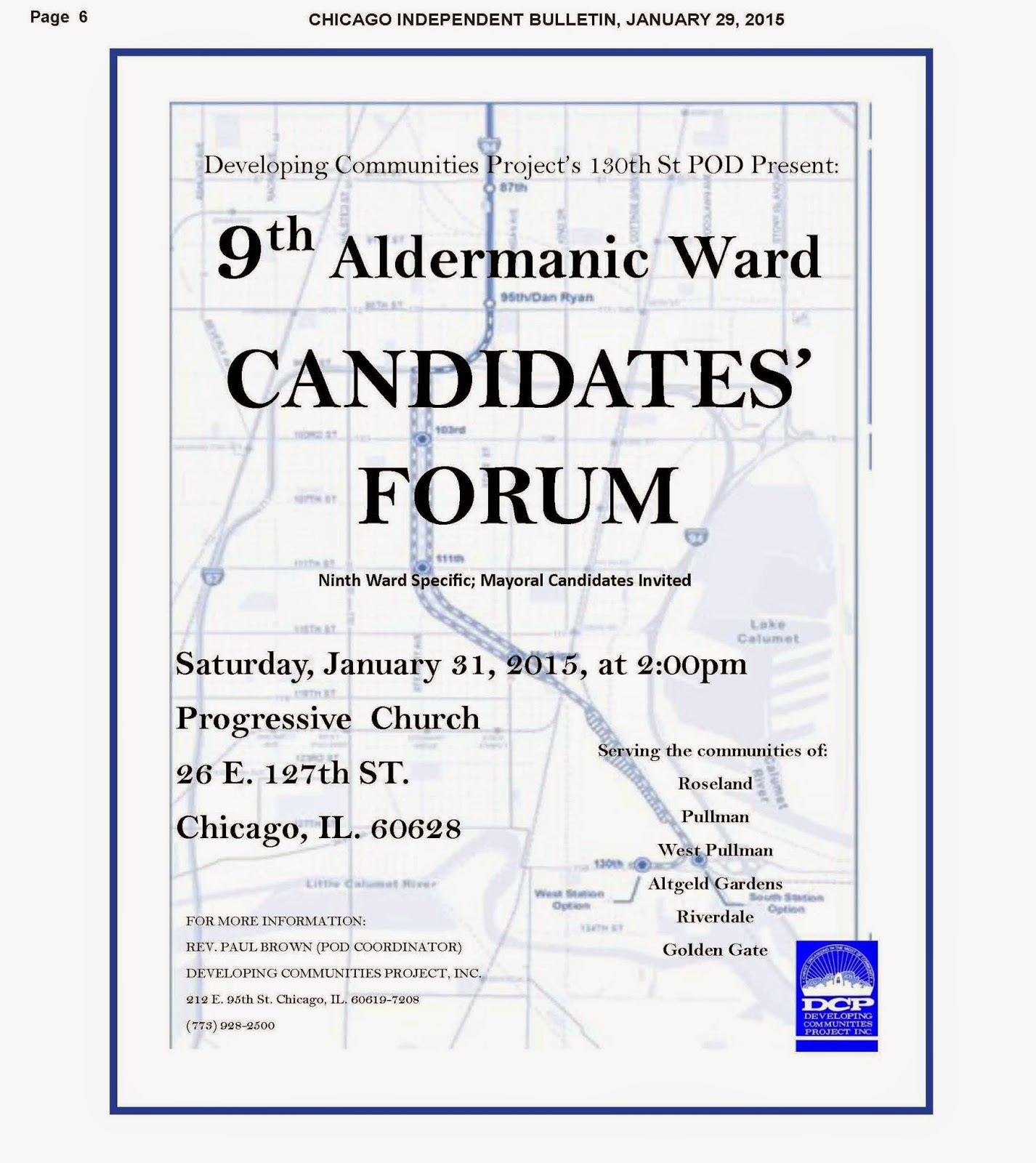 The Sixth Ward Dcp 9th Candidates Forum 27 Pm Projects Technical Discussions 2 Comments Developing Communities Project Is Hosting A On January 31st 2015 At It Will Be Held Progressive Church Located 26 E 127th