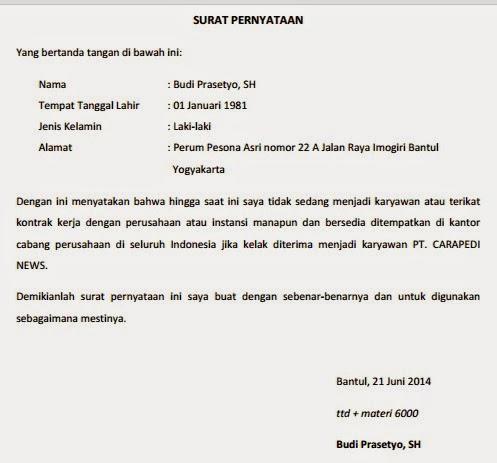 Contoh Surat Pernyataan Kesanggupan Diri Kerja Ditempatkan Dimana Saja