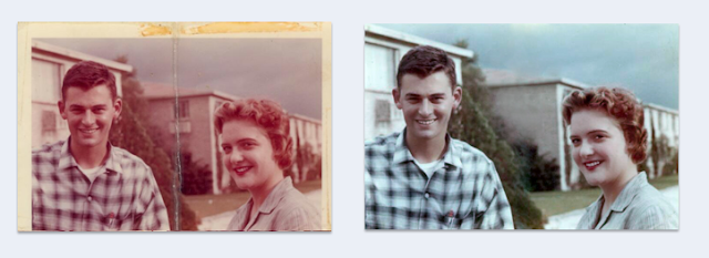 Recycled crafts:  Photoshop before and after restored photos