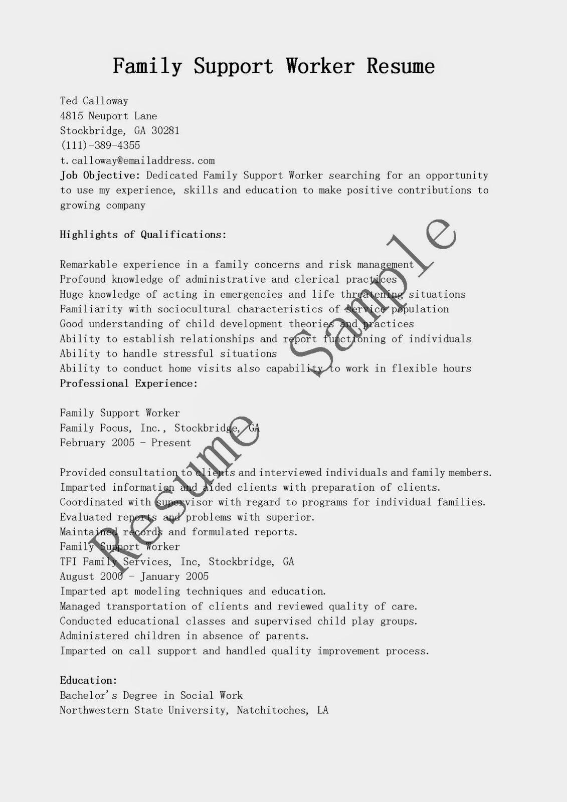 resume sles family support worker resume sle