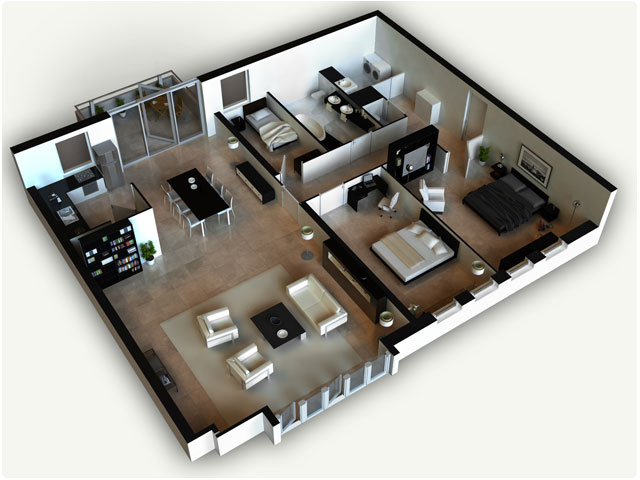 3D House Design Floor Plan 3