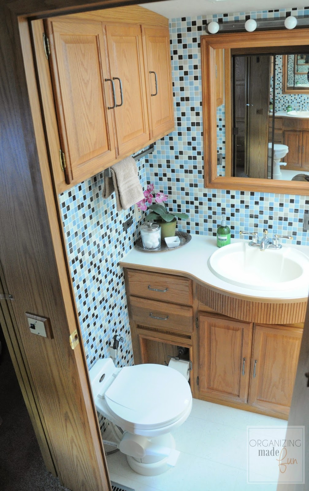 RV bathroom transformation - tiled with Smart Tiles :: OrganizingMadeFun.com