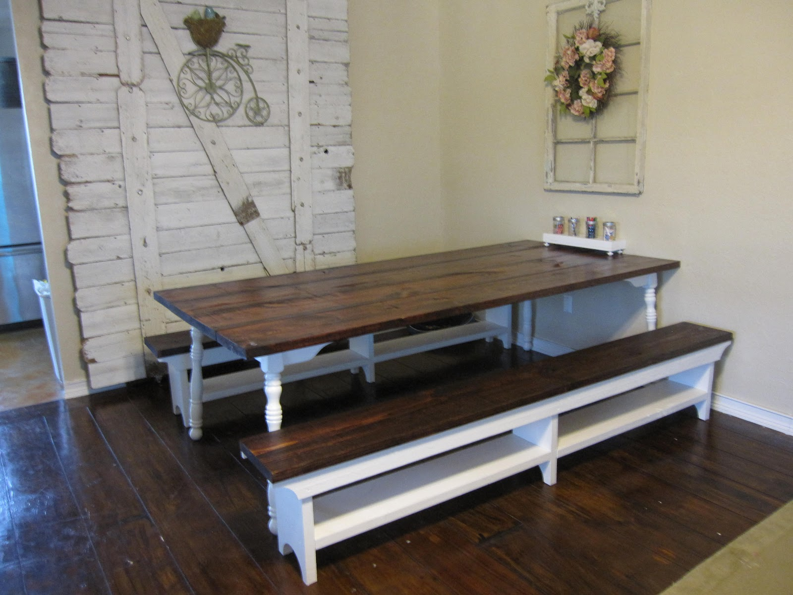 Farm style table with storage bench native home garden for Breakfast table plans
