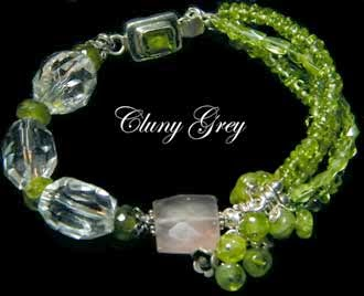 peridot bracelet with rose quartz