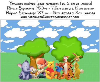 Etiqueta para poner en botellas de champagne = cava de Winnie de Pooh y sus amigos, para imprimir gratis