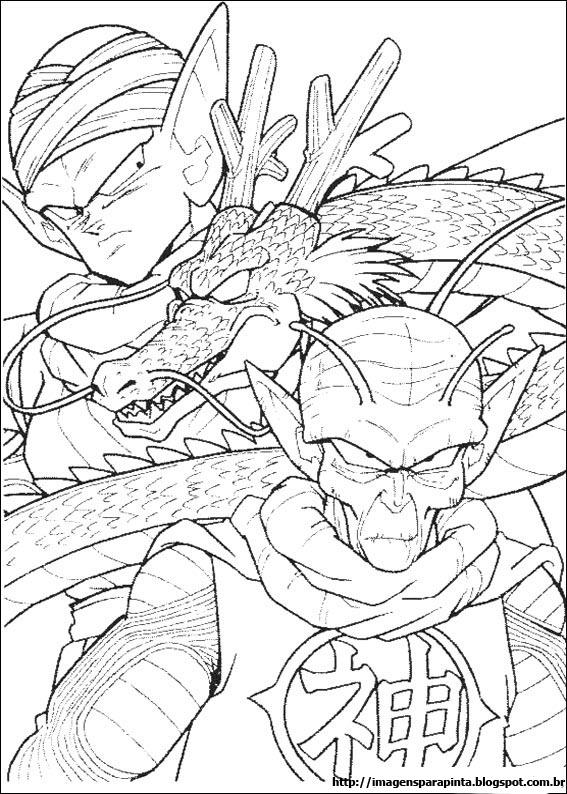 a desenhar Dragon ball z piccolo e kami sama  colorir
