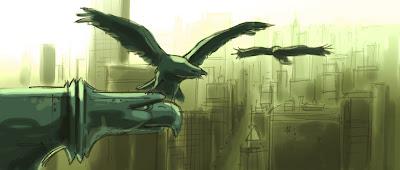 Adler auf Wasserspeier in New York, Produktionsentwürfe für Die Konferenz der Tiere Animals United