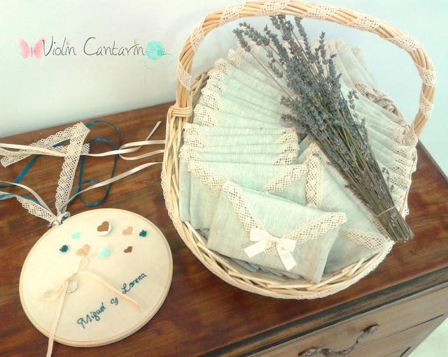 boda, bastidor anillos, cesta decorada, obsequios invitados, regalos invitados, violin cantarin, violín cantarín
