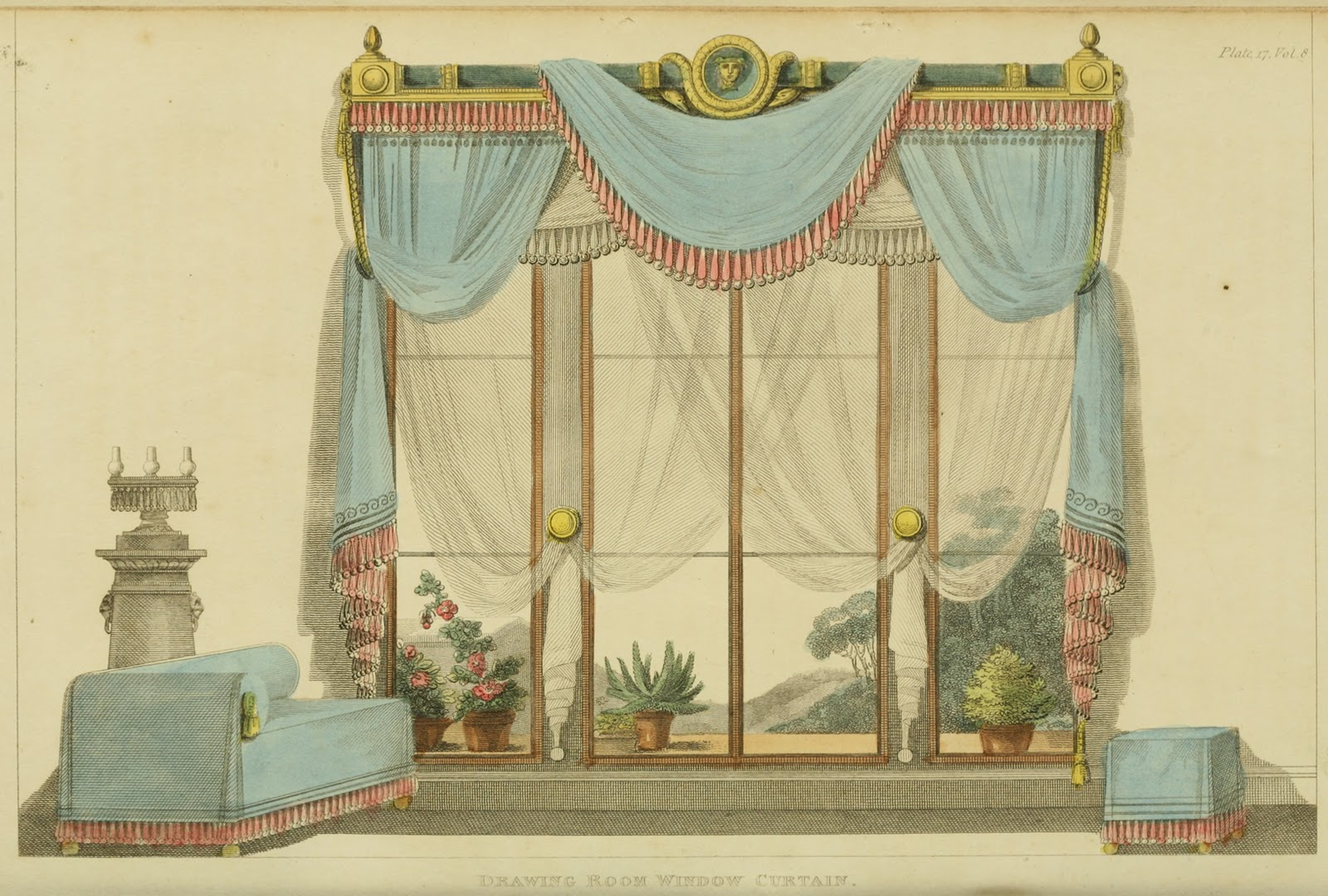 window drawing with curtains. 1812 - drawing room window curtain from ackermann\u0027s repository with curtains c