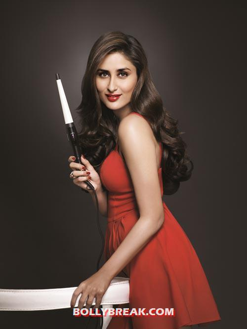 Kareena Kapoor with Philips Hair Straightner in hand - Kareena Kapoor Philips Ad - Red Dress