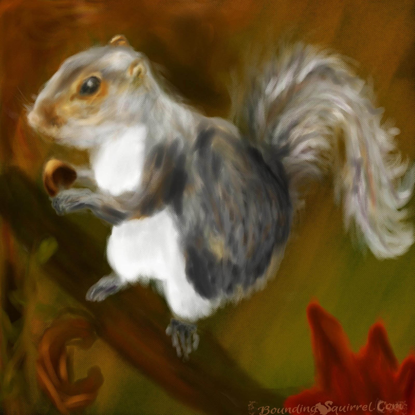Digital painting of a grey squirrel surrounded by autumnal leaves, woods and colours.