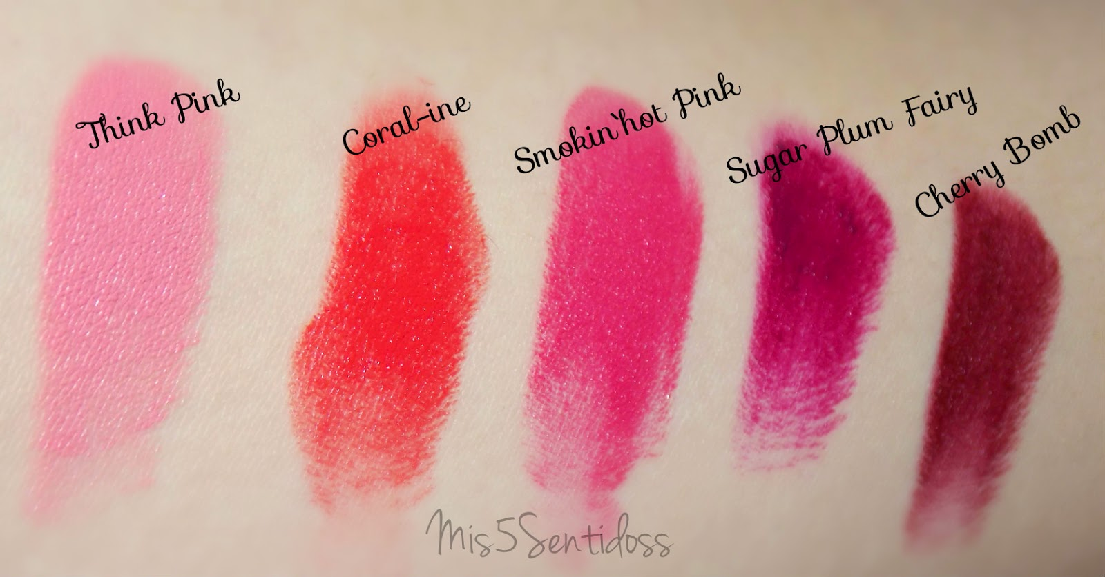 Swatches labiales de Wet N Wild