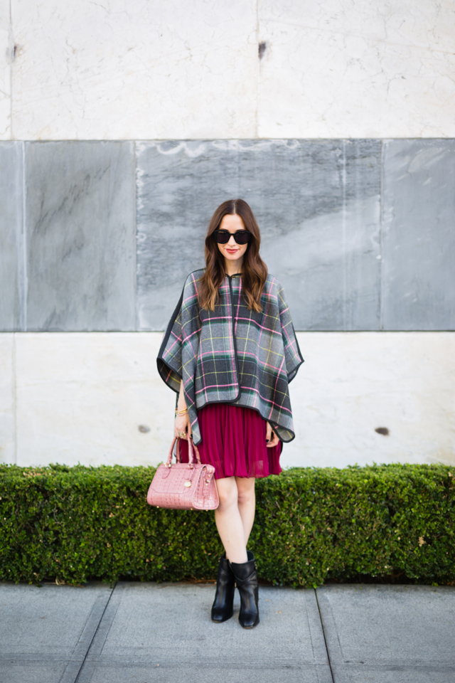 French Connection plaid cape with burgundy dress on M Loves M @marmar