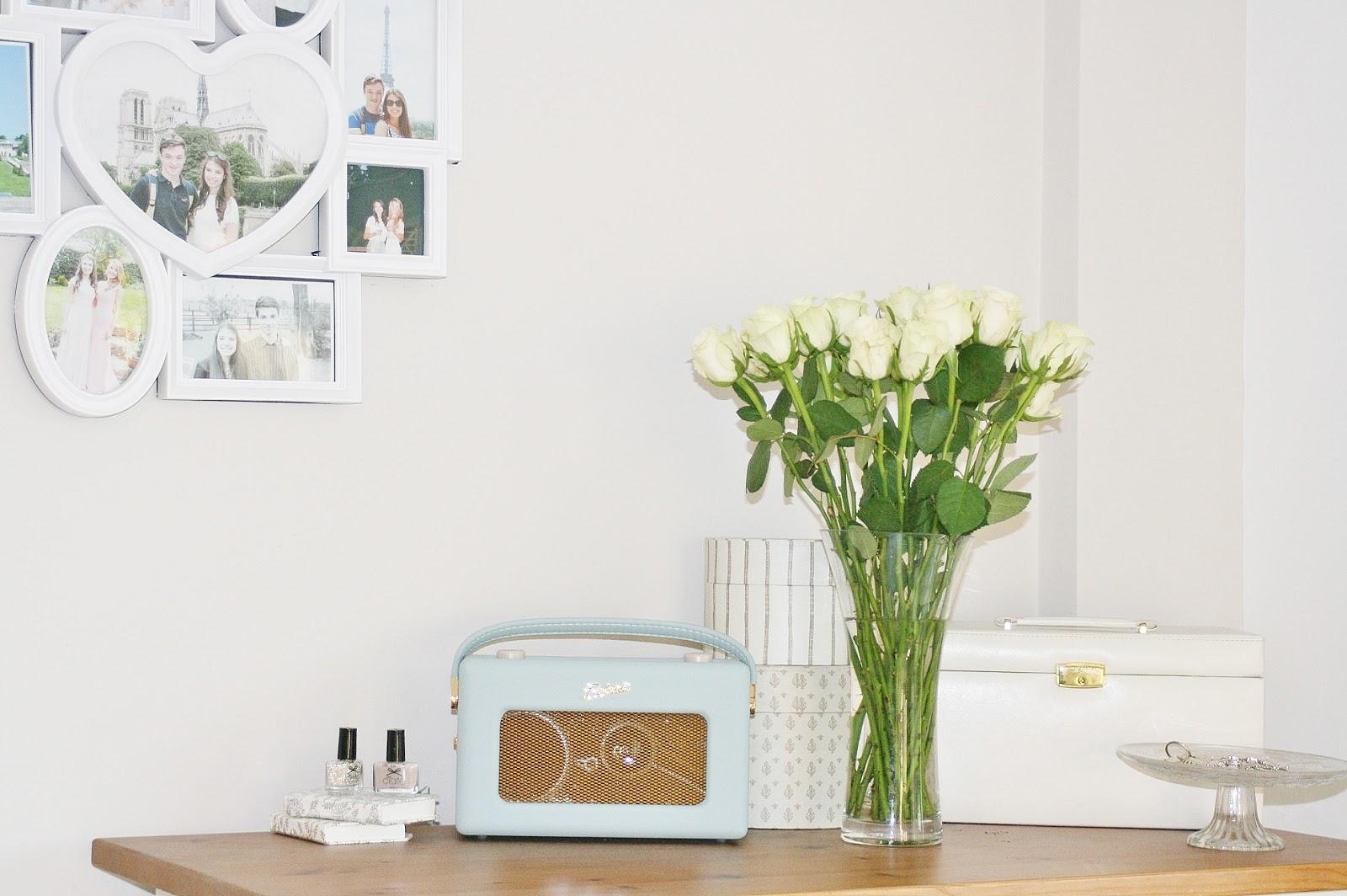Katherine Penney Chic Bedroom Decor Interior Flowers Roses White Cream Radio Pictures