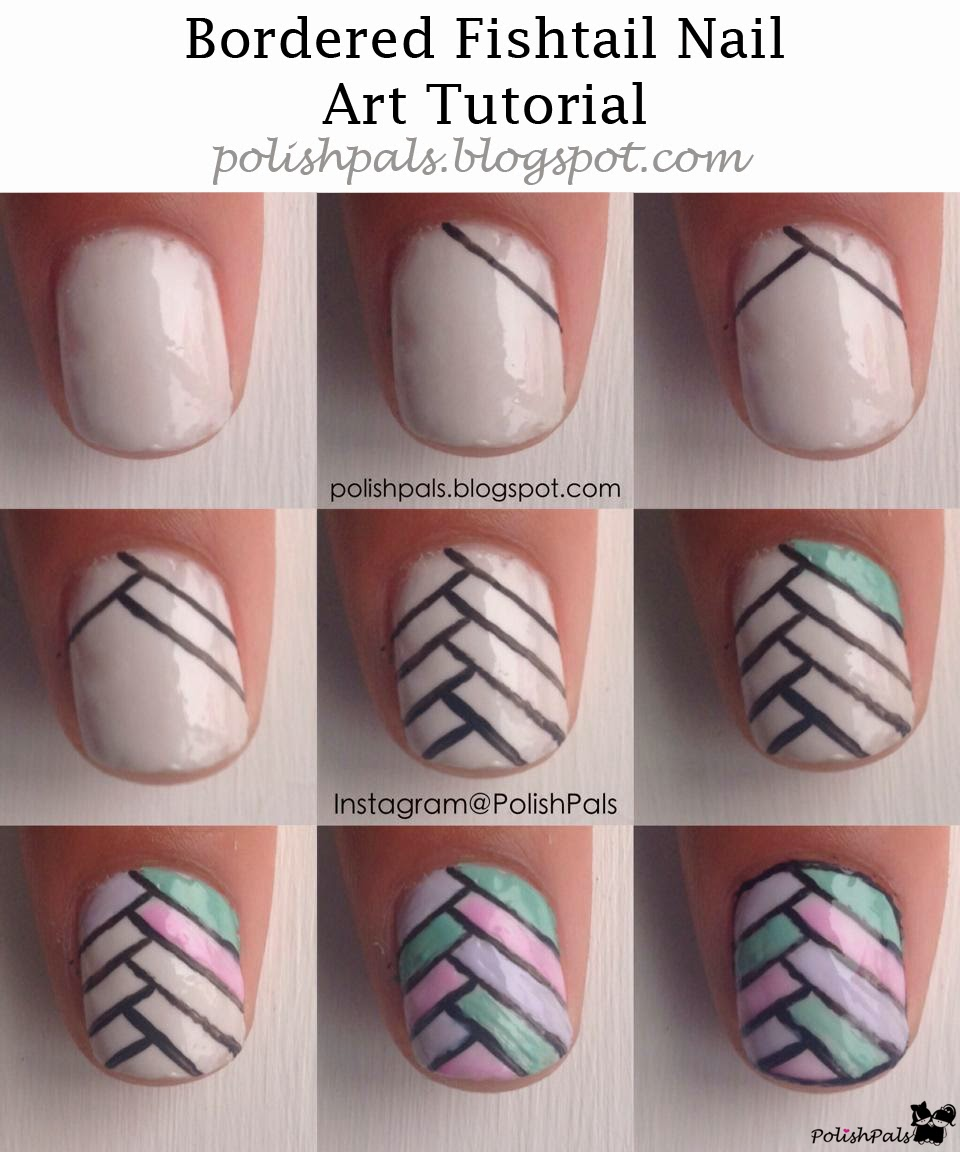 Bordered Fishtail Nail Art Tutorial by Polish Pals