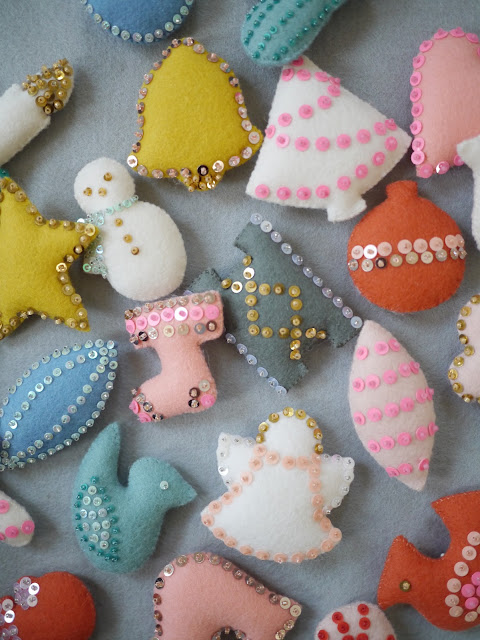 felt and sequin ornaments