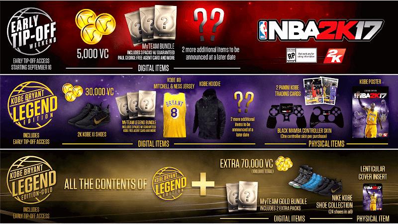 NBA 2K17 Standard, Kobe Bryant Legend & Kobe Bryant Legend Gold Edition Details
