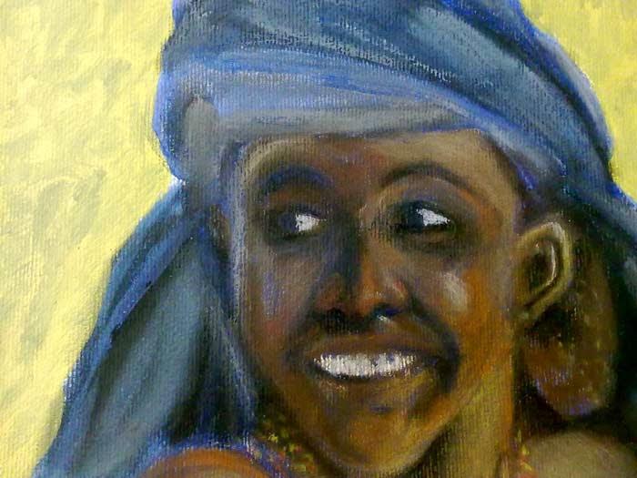 retrato africana con pastel