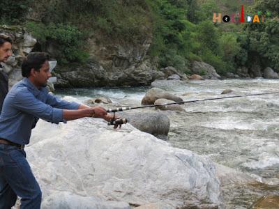 Rahul trying his hand at fishing