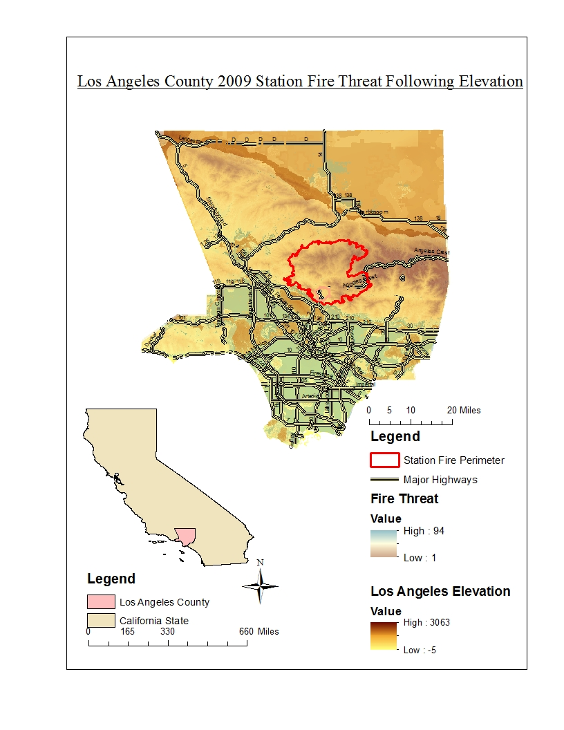 the fuel rank and fire threat of the surrounding area also heavily affected the growth of the blaze as you can see from the thematic map below deep red