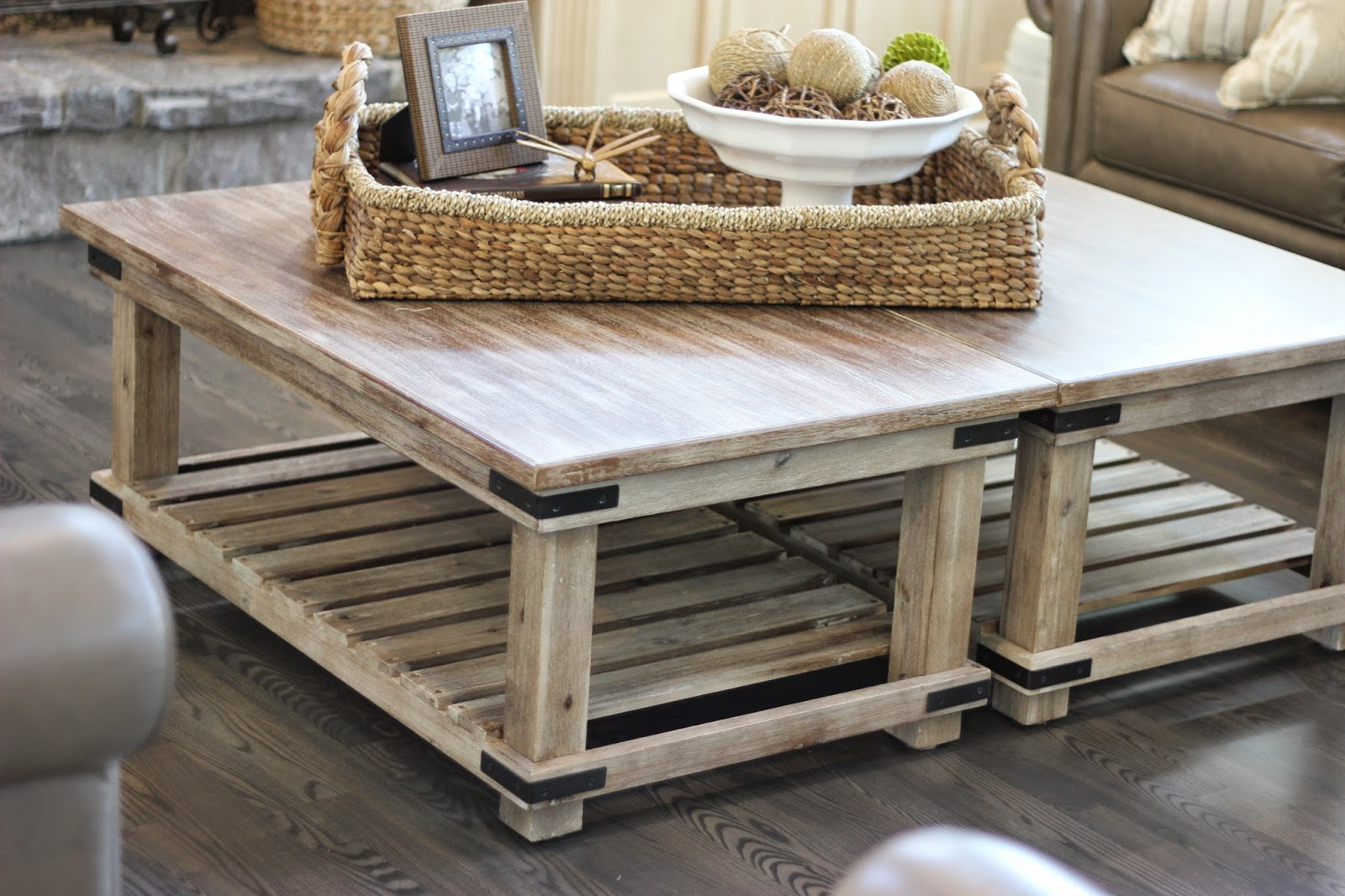 A creative option when you need a large coffee table forever cottage Coffee table with wicker baskets