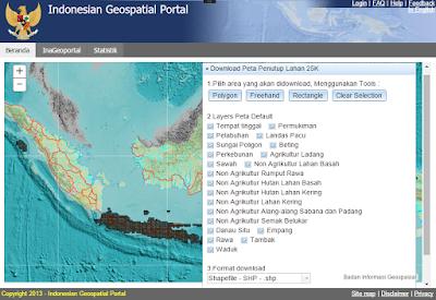Memilih area Ina-Geoportal