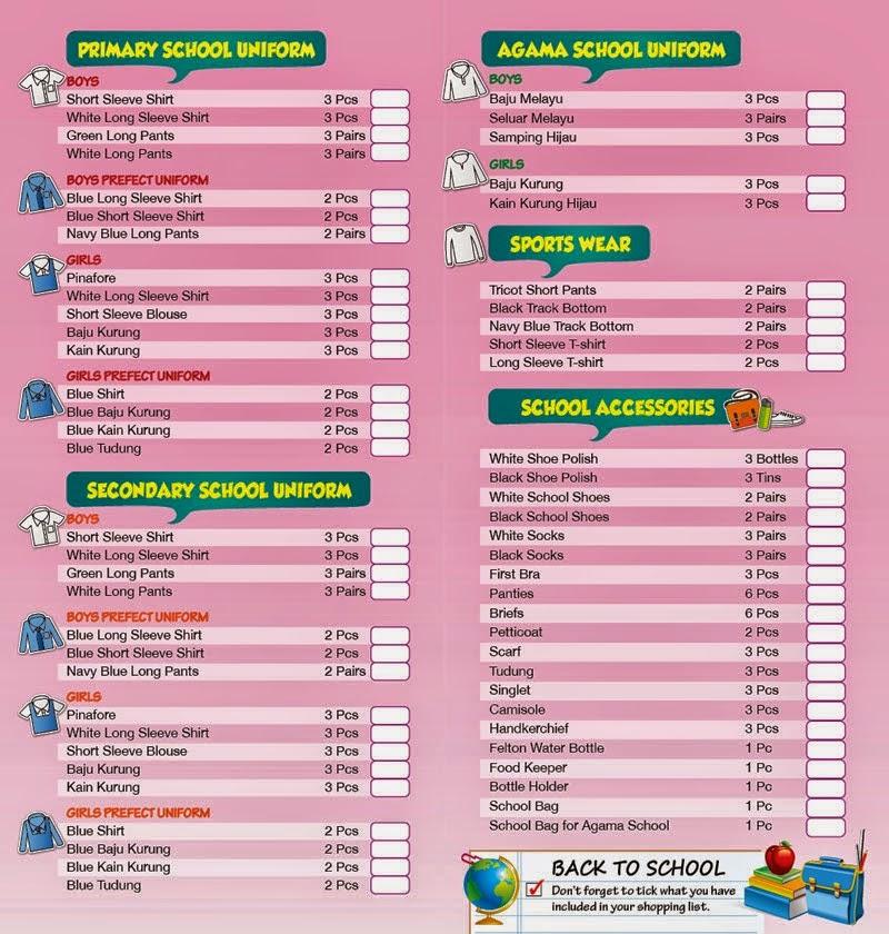 Senarai Semak Barang Keperluan Sekolah