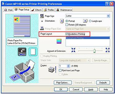 Как напечатать на принтере canon без полей