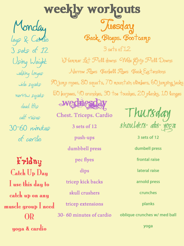 Workout Calendar Ideas : Blood sweat mini vans weekly workout