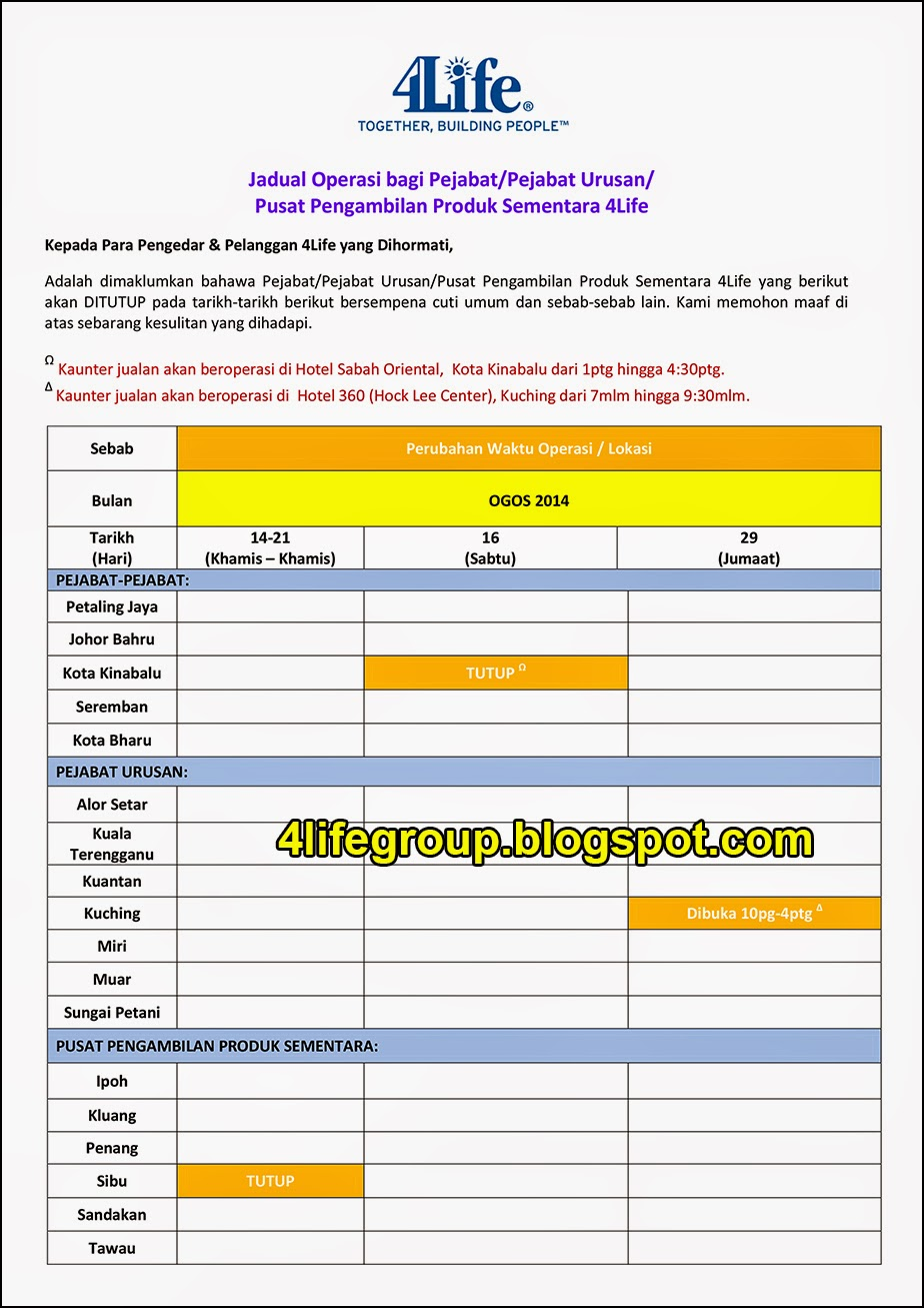 foto Jadual Operasi Bulanan Ogos 2014 4Life Malaysia