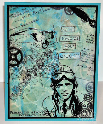 Mixed Media Card using the Gelli Arts Plate, Artistic Outpost stamps and stencil from The Crafters Workshop