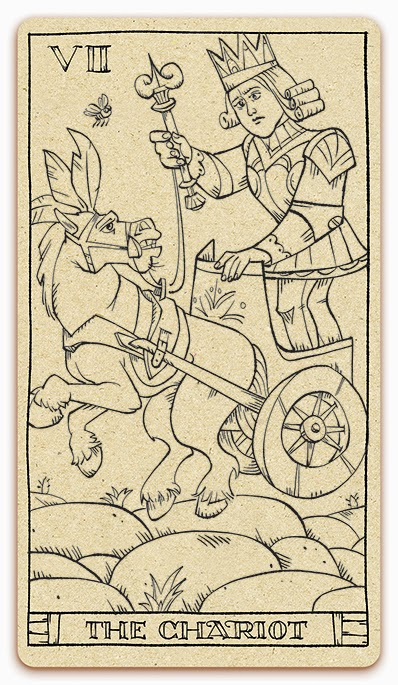 The Chariot card - inked illustration - In the spirit of the Marseille tarot - major arcana - design and illustration by Cesare Asaro - Curio & Co. (Curio and Co. OG - www.curioandco.com)