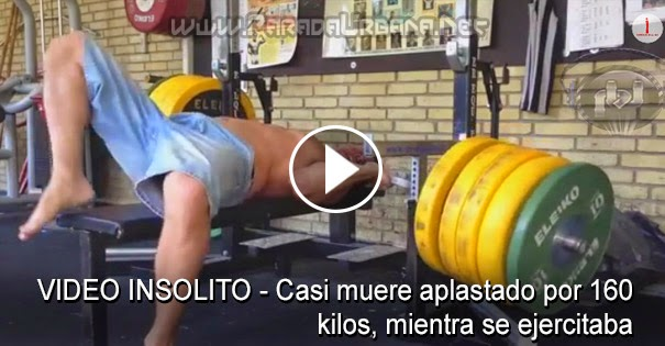 VIDEO INSÓLITO - Casi muere aplastado por 160 kilos, mientra se ejercitaba