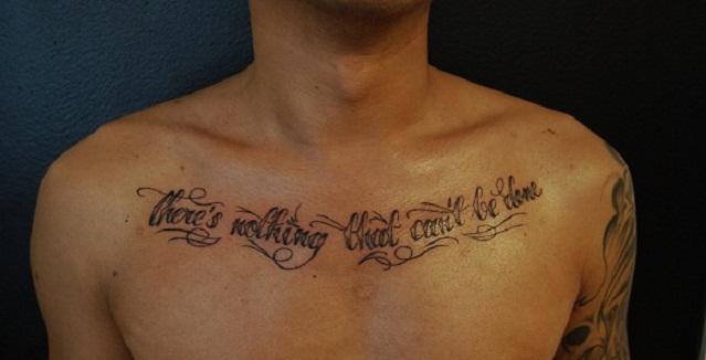 Chest writing tattoos cool star designs prayer tattoo for Chest tattoo writing