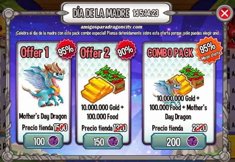 imagen de la oferta del dia de la madre de dragon city ios y android