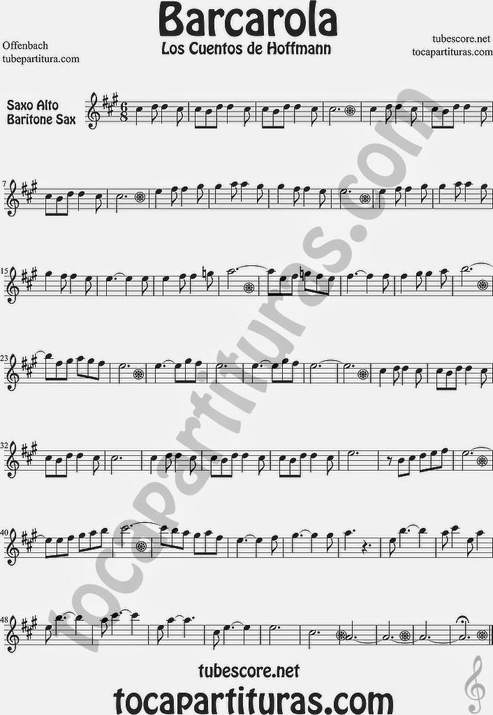 Barcarola Partitura de Saxofón Alto y Sax Barítono Los cuentos de Hoffmann by Offenbach Sheet Music for Alto and Baritone Saxophone Music Scores