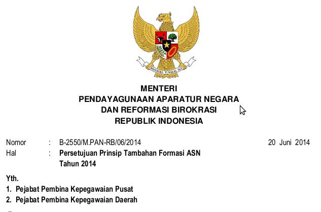 Surat Menpan No.B-2550/M.PAN-RB/06/2014