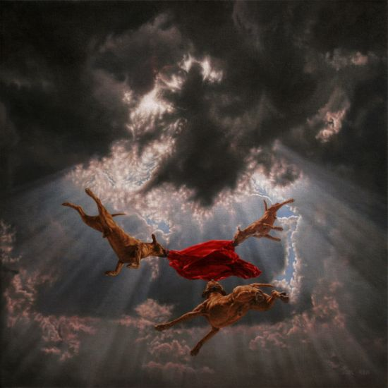Joel Rea pintura hiper-realista surreal cães gigantes caindo céu Para sempre voando