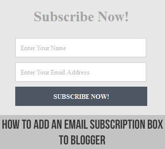 Elegant and Clean Email Subscription Box for Blogger