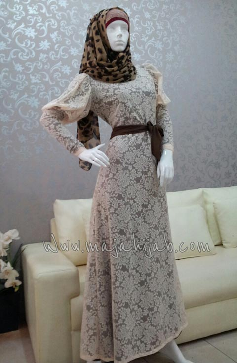 Kode Barang Dress Zelma Cream Inside Coklat