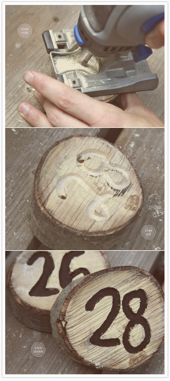 Wooden Table Numbers ~ Envy events tacoma seattle event design diy project
